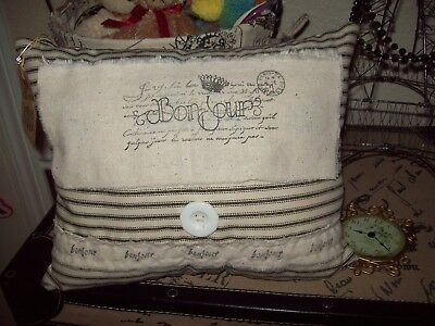 SMALL PARIS Bonjour throw pillow home decor shabby FRENCH country cottage