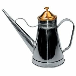 Winware by Winco OC-24 Stainless Steel Oil Can with Brass Knob and Lid