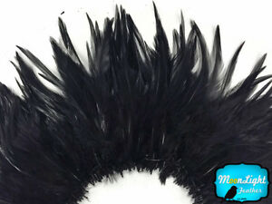 4-Inch-Strip-4-6-034-Black-Strung-Chinese-Rooster-Saddle-Feathers-Craft-Supply