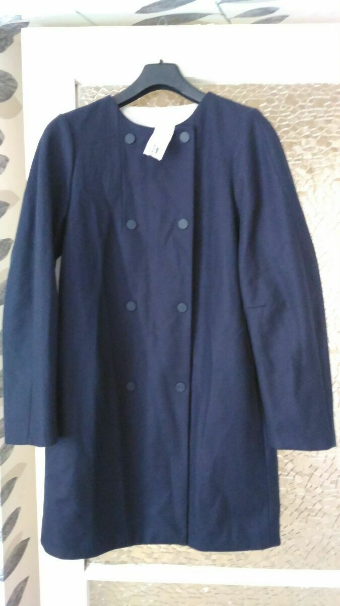 Lacoste Women's Navy bluee Double Breasted Collarless  Coat SIZE  40,