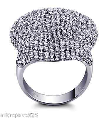 Stylish Solitaire Ring With Cubic Zirconia Pave Setting Sterling Silver 925
