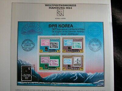 Gelernt Upu Weltpostverein Weltkongreß Hamburg 1984 Groß-block Korea Zeppelin Dr Gold Briefmarken