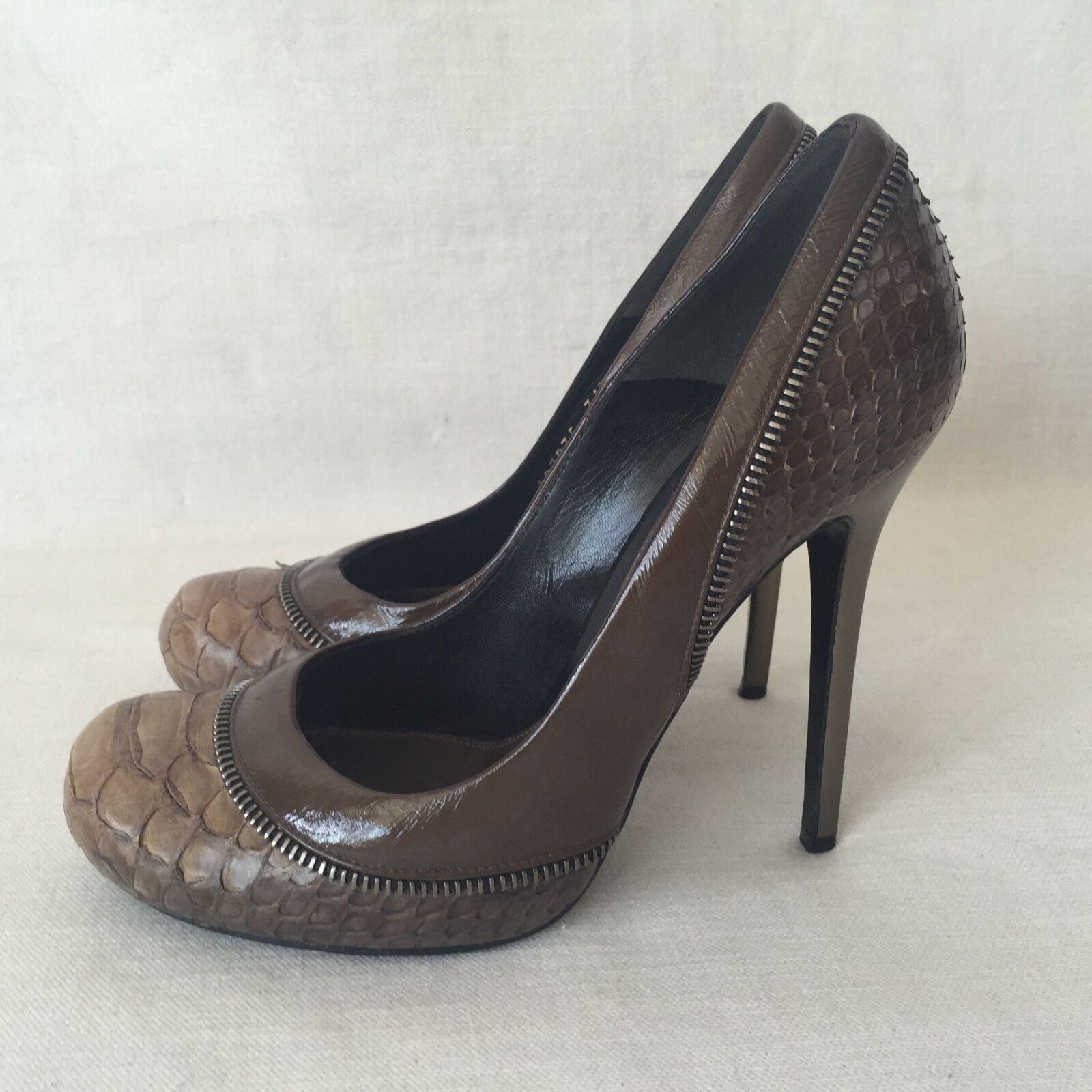 Alexander McQueen Marronee Snakeskin Heel Pump Python Zip Patent Dimensione  36.5 US 6.5  Sito ufficiale