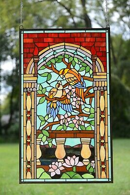 20 75 X 35 Handcrafted Stained Glass Window Panel Love Birds Two Parrots Ebay