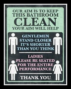 Details About 10 X 8 Our Aim Is To Keep The Bathroom Clean Loo Toilet Metal Plaque Sign 147