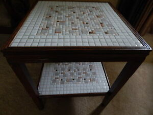 Vintage Mid Century Mosaic 2 Tier Tile Top Table Side End