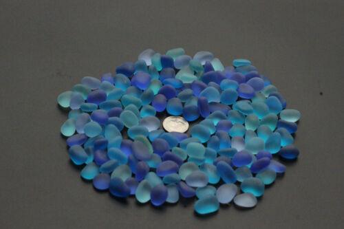 blue cobalt aqua turquoise sea beach glass 100 pieces lot  12-18mm jewelry use