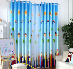 Rainbow-Pencil-Sunny-Day-Blockout-Luxury-Kids-Curtains-Sheer-Drape-Children-Room