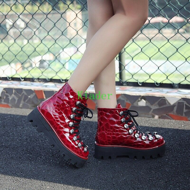 Punk Women Gothic Lace Up Mid Heel Ankle Boots Patent Leather Platform Shoes Hot
