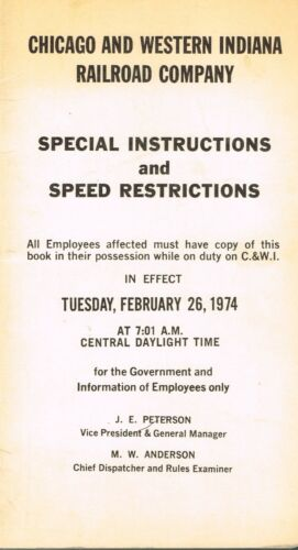 CHICAGO & WESTERN INDIANA RAILROAD SPECIAL INSTRUCTION RULE BOOK 1974 VG