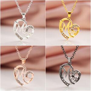 Details zu Charme Juwelen für Frauen MOM Anhänger Love Heart Kristall Rhinestone Halskette