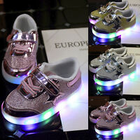 Kids Toddler Baby Girl Sneakers LED Luminous Casual Shoes Leather Soft Trainers