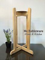27 Natural Floor Wood Stand For Porcelain Ceramic Water Dispenser Crock Vase