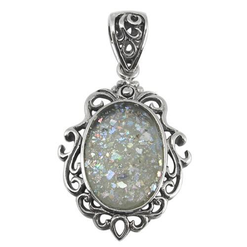 Sterling Silver Pendant w// 2,000 Year Old Antique Roman Glass BTS-NP7661//RG