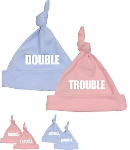 Babyprem Double Trouble Funny Baby Hats Novelty Gifts Twins Baby