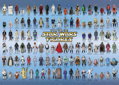 VINTAGE POSTER Di Star Wars 104 Action Figure CHECKLIST Kenner Palitoy guida stampa