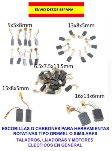 ESCOBILLAS CARBONES TALADROS DREMEL MOTORES RECAMBIOS COCHES MOTOS LANCHAS BRUSH