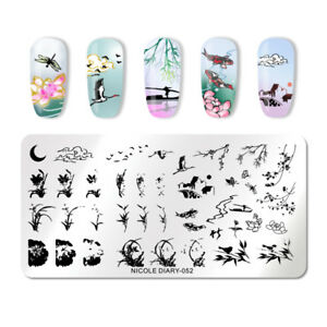 NICOLE-DIARY-Nagel-Schablone-Moon-Reed-Lotus-Nail-Art-Stamp-Image-Plate-052