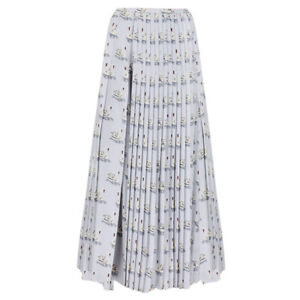 Stella-McCartney-Pale-Grey-Swan-Print-Plisse-Pleated-Silk-Skirt-IT40-UK8