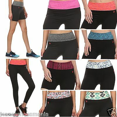 New Women Foldover Compression Work Out Long Yoga Gym Stretchy Shorts Leggings