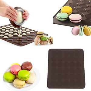 Large-30-Macarons-Muffins-Silicone-Baking-Pastry-Sheet-Mat-Cup-Cake-Mold-Tray-SU