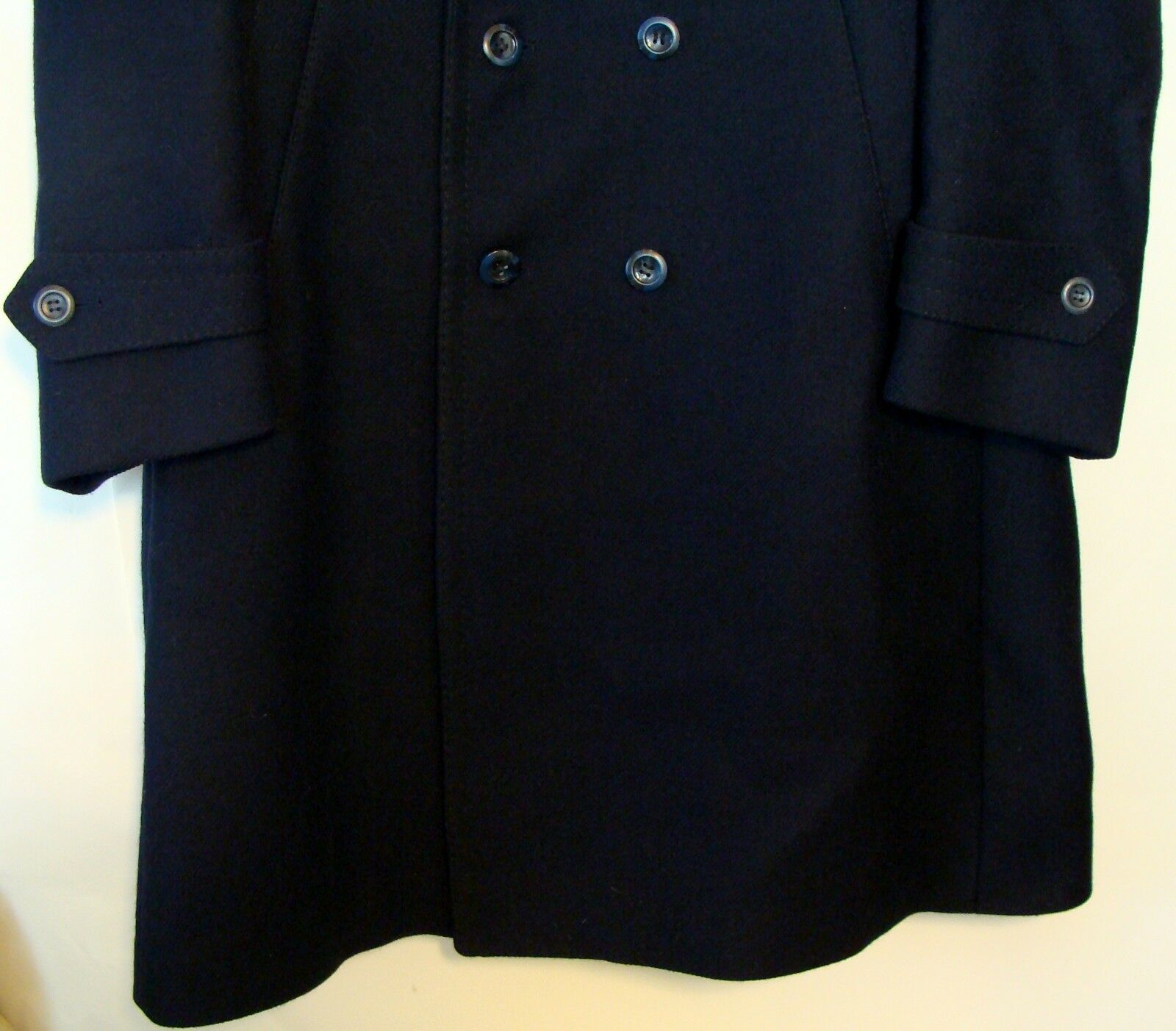 VARTEKS Uomo NAVY blu MILITARY VIRGIN BREASTED Lana DOUBLE BREASTED VIRGIN Cappotto SIZE 42R  BC d63eff