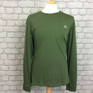 f7aa7eb1 Details about LACOSTE SPORT MENS UK XXL FR 7 KHAKI GREEN LONG SLEEVE TEE  CASUAL DESIGNER
