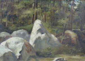 Barbizon-School-Landscape-the-Rocks-Hsc-Fontainebleau-Theodore-Rousseau-Corot