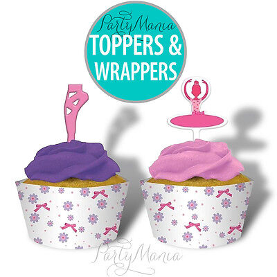 TUTU MUCH FUN BALLET PARTY SUPPLIES CUPCAKE WRAPPERS AND TOPPERS ~ SET OF 12