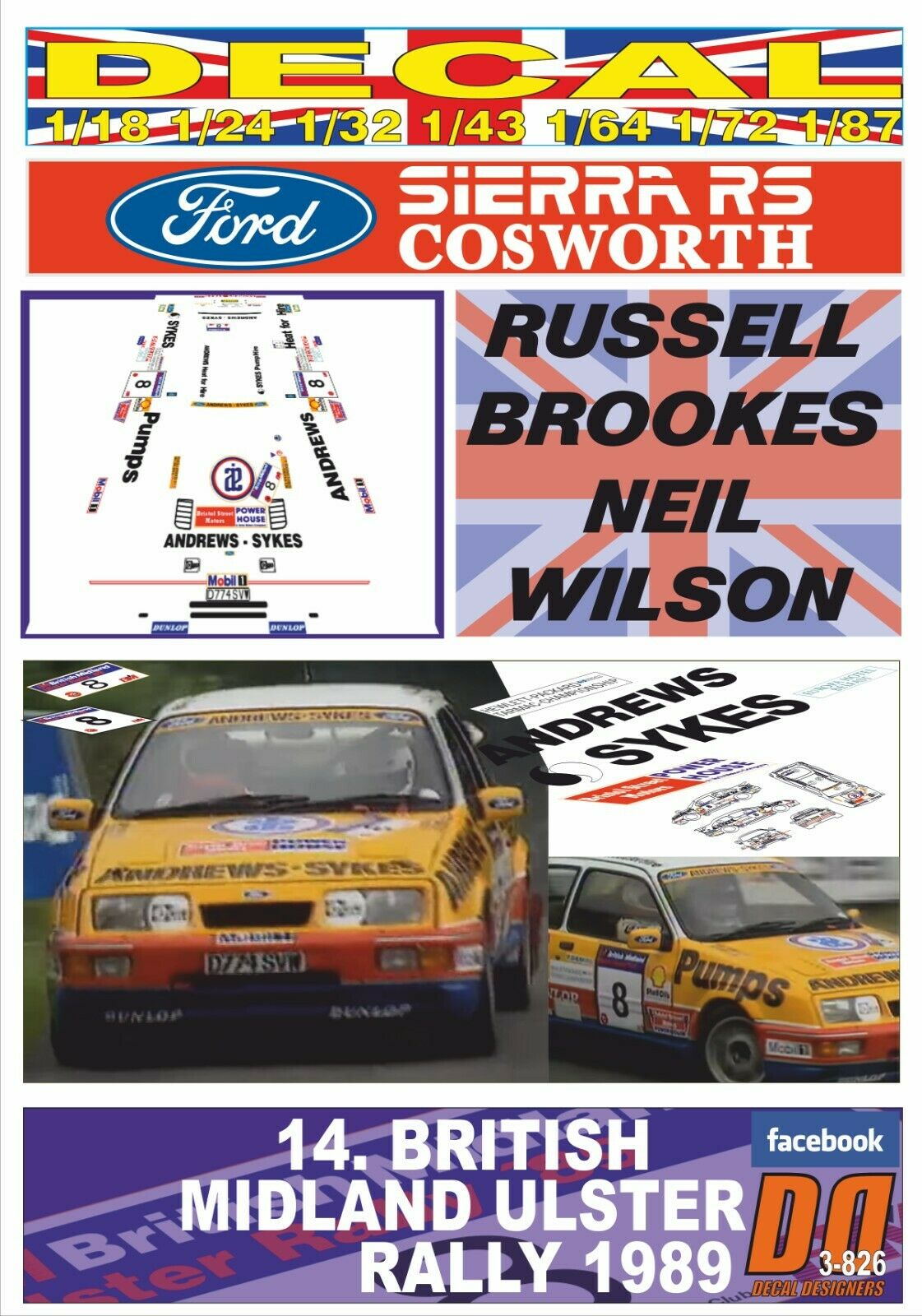 Decal Ford Sierra RS Cosworth R. Brookes ulster R. 1989 1989 1989 2nd (05) a8538f