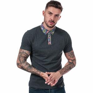 Mens-Pretty-Green-Rosler-Paisley-Poplin-SS-Polo-Shirt-in-Grey