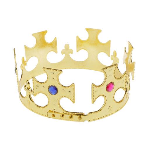 King Or Queens Gold Crown Mens Ladies Royal Crown Fancy Dress Costume Hat
