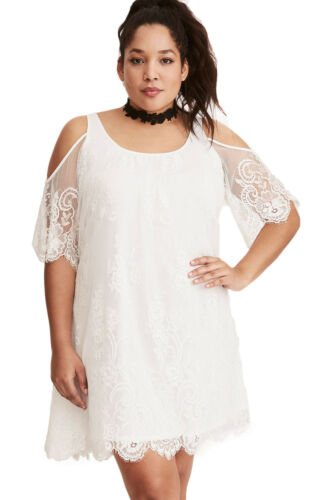 White Plus Size dentelle froid épaule trapèze robe Taille 16-26