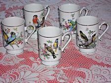 Royal Crown China Footed Mugs/Cups Set of 5-Bird Decor Detailed Designed