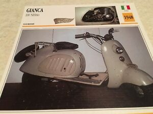 Carte moto Gianca 100 scooter Nibbio 1948 collection Atlas Motorcycle Italie