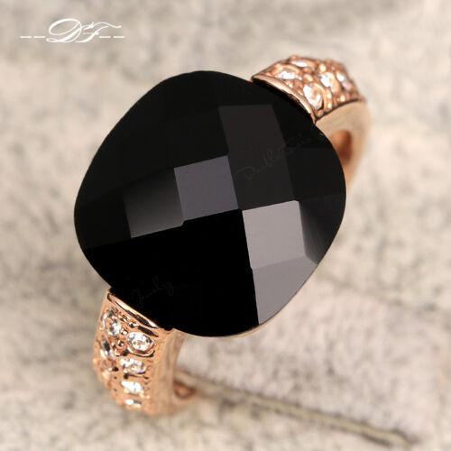 Nouveau Acrylique taille princesse Zircon Stone Finger Ring 18K Or//Platine Plaqué Bijoux