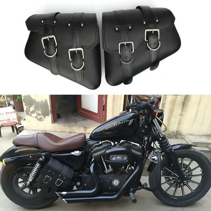Tooled leather motorcycle side bags with metal detail