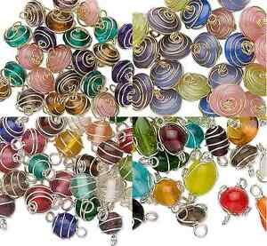 6934GB-Charm-Bead-Drop-Glass-Wire-Wrapped-Mix-MANY-COLORS-25-to-75-Beads