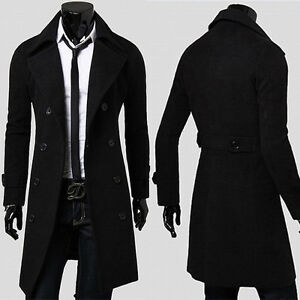 Mens Winter Wool Long Coat Double Breasted Trench Parka Jacket ...
