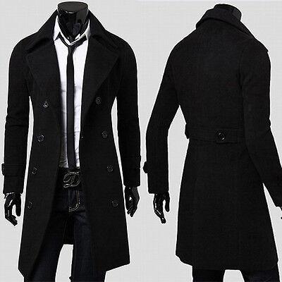 Gr:S~XL Business Herren Lang Slim Fit Trench Coat Winterjacke Wool Mäntel Parkas
