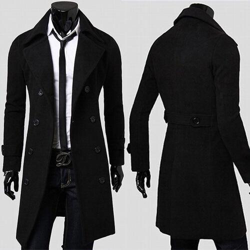 klassisch Detaillierung modernes Design Herren Mantel Schwarz Business Jacke Sakko Wintermantel Business Lang  Trenchcoat