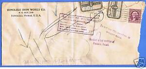 HONOLULU-IRON-WORKS-OFFICIALLY-SEALED-STAMP-COVER