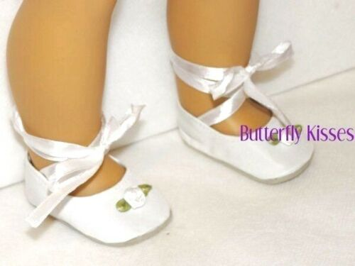 "White Rosebud Ballerina Slipper Dance Shoe 18/"" Doll Clothes Fits American Girl"