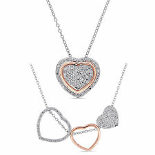 Amour 2-Tone White and Rose Plated Silver Diamond Necklace