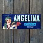 Vintage Original BLUE ANGELINA FRUIT CRATE BOX CITRUS Label Unused NOS
