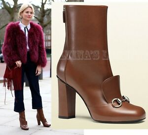 370f1cf0 Details about GUCCI ANKLE BOOTS BROWN LEATHER HORSEBIT DETAIL LILLIAN  $1,100 IT 36.5 6.5