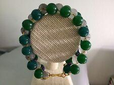 "Green Dyed Agate, Grey Agate & Purple Faux Pearl Ladder Weave 7.5"" Bracelet."