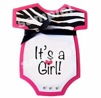 It's A Girl Baby Shower Pink Zebra Edible Cake Topper Text Can Be Personalized