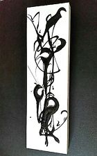 Black/White Mid-Century Modern Style Abstract Painting on Wood,Minimalist,Mod