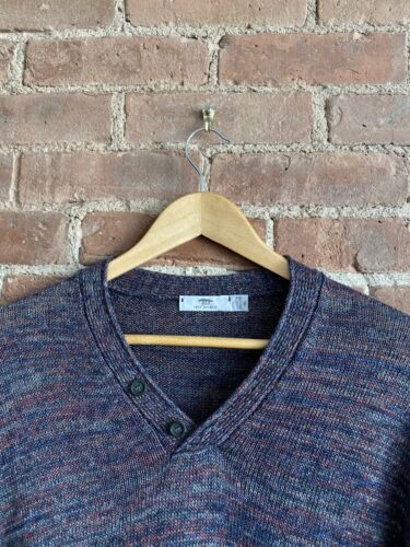 Inis Meain 100% Linen Men's Y-Neck Henley Sweater,
